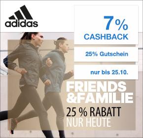 adidas: 7% Cashback + 25% Gutschein