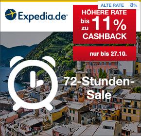 Expedia: 72 Stunden Sale + bis zu 11% Cashback