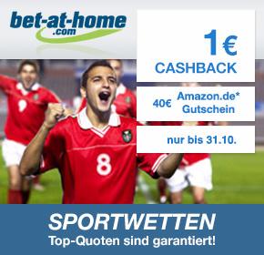 bet-at-home: 40€ Amazon.de Gutschein* + 1€ Cashback