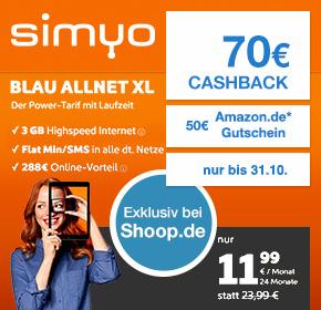 simyo: Blau Allnet XL – Allnet-Flat, SMS-Flat + 3GB Datenvolumen zu effektiv 6,99€ monatlich- bei Wahl des iPhone SE nur 3,74€ monatlich!
