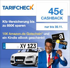 Tarifcheck.de mit 45€ Cashback + 10€ Amazon Gutschein + Kindle eBook geschenkt für Deinen KFZ Versicherungsabschluss