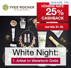 Yves Rocher: 25% Cashback + 1. Produkt gratis bei der White Night