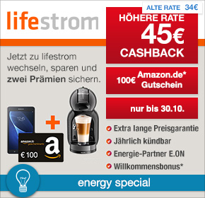 lifestrom: 45€ Cashback + 100€ Amazon.de Gutschein + NESCAFÉ® Dolce Gusto® Mini Me® [Energy Special]