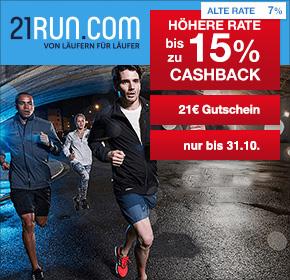 21run: bis zu 15% Cashback + 21€ Gutschein