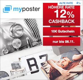 myposter: 12% Cashback + 10€ Gutschein