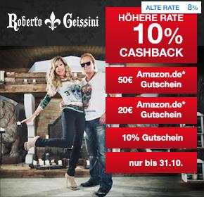 Roberto Geissini: 10% Cashback + 20€ oder 50€ Amazon.de Gutschein* + 10% Gutschein