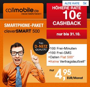 callmobile: cleverSMART 500 – 100 Freiminuten, 100 SMS sowie 500 MB im D2 Netz für 4,95€ monatlich+ kein Startpaketpreis+ 10€ Cashback