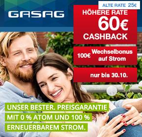 GASAG: 60€ Cashback + bis zu 100€ Wechselbonus für Strom Fix und Erdgas Fix Tarife [Energy Special]