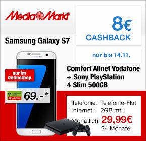 Media Markt Mobilfunk: Samsung Aktionswochen – S7 Edge + Playstation 4 Slim für 29,99€ monatlich + 8€ Cashback