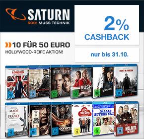 Saturn: 10 für 50€ Blu-ray Aktion + 2% Cashback von Shoop.de