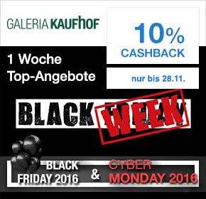 Galeria Kaufhof: 10% Cashback + Black Week Angebote [Black Friday 2016]