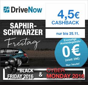DriveNow: kostenlose Anmeldung + 4,50€ Cashback [Black Friday 2016]