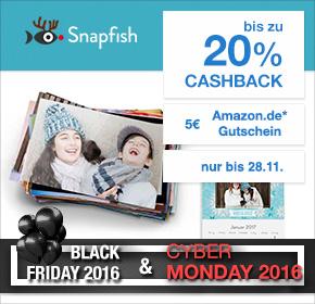 Snapfish: bis zu 20% Cashback auf deine Bestellung + 5€ Amazon.de Gutschein* [Black Friday 2016]