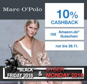 Marc O'Polo: 20% auf ausgewählte Artikel + 10% Cashback + 10€ Amazon.de Gutschein* [Black Friday 2016]