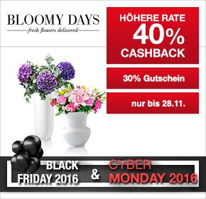 BLOOMY DAYS: 40% Cashback + 30% Gutschein [Black Friday 2016]
