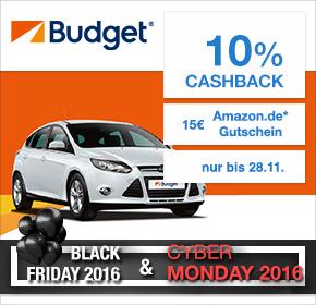 Budget mit 10% Cashback auf jede Mietwagenbuchung + 15€ Amazon.de Gutschein* [Black Friday 2016]
