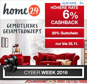 home24: 20% Extra-Rabatt auf bereits bis zu 60% reduzierte Produkte + 6% Cashback [Black Friday 2016]