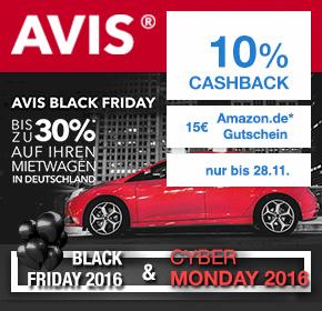 Avis Autovermietung: Bis zu 30% Rabatt + 10% Cashback + 15€ Amazon.de Gutschein* [Black Friday 2016]
