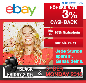 ebay: 3% Cashback + bis zu 15% Gutschein [Black Friday 2016]