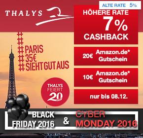 Thalys: 7% Cashback + 10€ Amazon.de Gutschein* (bei 49€ MBW) und 20€ Amazon.de Gutschein* (bei 89€ MBW) auf deine Zugbuchung [Black Friday 2016]