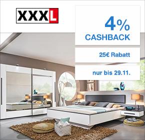 XXXL Einrichtungshäuser: 4% Cashback + 25€ Gutschein ab 100€ auf Cyber Monday Artikel