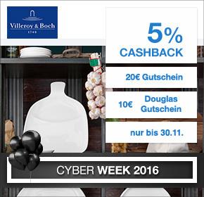 Villeroy & Boch: 20€ Rabatt ab 100€ MBW + 10€ Douglas Gutschein + 5% Cashback [Black Friday 2016]