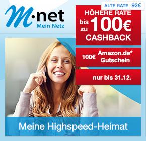 M-net: €100 Amazon.de Gutschein* auf die Surf & Fon – Flats 25/50/100 + gratis FRITZ!Box 7490 + bis zu 100€ Cashback!