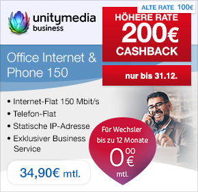 unitymedia business: 200€ Cashback auf Office Internet & Phone 150 Tarif zu 34,90€ monatlich