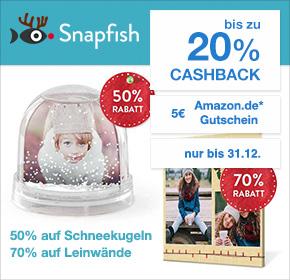 Snapfish: bis zu 20% Cashback auf deine Bestellung + 5€ Amazon.de Gutschein*
