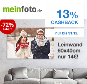Meinxxl.de mit 13% Cashback + Leinwand 60x40cm für 14€ zzgl. 6,90€ Versand