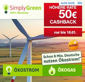 SimplyGreen: 50€ Cashback für Strom- oder Gasabschluss + Fahrrad oder 100€ BestChoice Gutschein