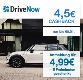 DriveNow: einmalige Anmeldegebühr von 4,99€ + 15 Freiminuten gratis + 4,50€ Cashback