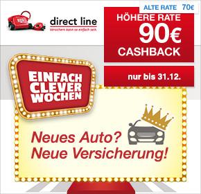 Direct Line: 90€ Cashback auf KFZ-Versicherungsabschluss