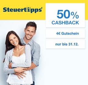 Steuertipps.de: 50% Cashback + 4€ Gutschein