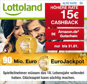 Lottoland: 15€ Cashback + 5€ Amazon.de Gutschein* + 6 x EuroJackpot nur 6,25€