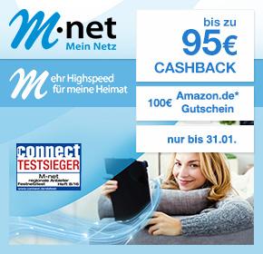 M-net: €100 Amazon.de Gutschein* auf die Surf & Fon – Flats 25/50/100 + gratis FRITZ!Box 7490 + bis zu 95€ Cashback!