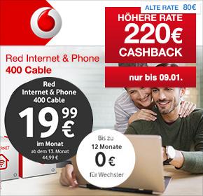 Vodafone: Internet & Phone Cable 400 inkl. FRITZ!Box 6490 für 21,24€ / Monat – Try & Change nur 13,74€ / Monat!