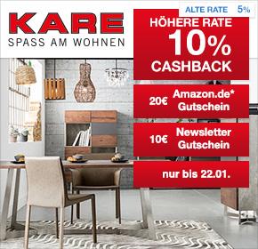 KARE: 10% Cashback + 10€ Gutschein + 20€ Amazon.de Gutschein*
