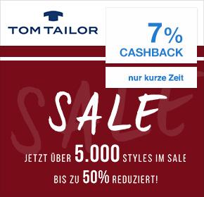 Tom Tailor: 7% Cashback + bis zu 50% Rabatt auf über 5000 Styles