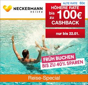 Neckermann Reisen: 100€ Cashback auf Deine Reisebuchung [Reisefieber 2017]