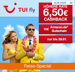TUI fly: 6,50€ Cashback + 10€ Amazon.de Gutschein* [Reisefieber 2017]