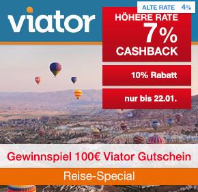 Viator: 7% Cashback auf valide Buchungen + 10% Gutschein + Verlosung [Reisefieber 2017]
