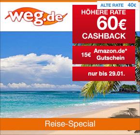 weg.de: 60€ Cashback auf Pauschal-/Last-Minute-Reisen + 15€ Amazon.de Gutschein* [Reisefieber 2017]