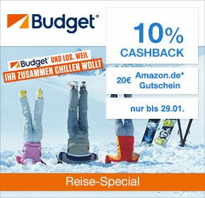 Budget: 10% Cashback + 20€ Amazon.de Gutschein* [Reisefieber 2017]