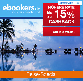ebookers: 15% Cashback auf Hotelbuchungen [Reisefieber 2017]