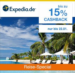 Expedia: Bis zu 15% Cashback auf valide Buchungen [Reisefieber 2017]