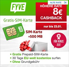 FYVE: gratis Startpaket mit Surf-Flat im Wert von 10 € + 1 € Startguthaben zu 2,50€ Versand +8€ Cashback