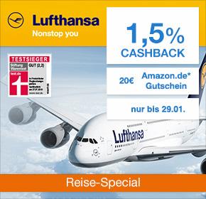 Lufthansa: 1,5% Cashback + 20€ Amazon.de Gutschein* [Reisefieber 2017]