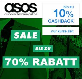 asos: 70% Sale + bis zu 10% Cashback