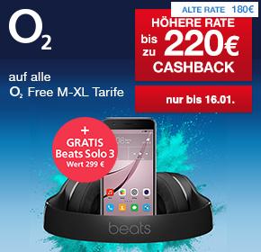 o2: Gratis Beats Solo3 Wireless (UVP: 299€) zu allen o2 Free Tarifen ab M + bis zu 220€ Cashback!